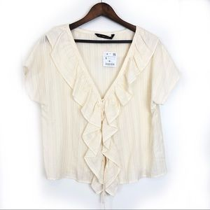 Zara  Basic Ruffle V-Neck Short Sleeve Shirt